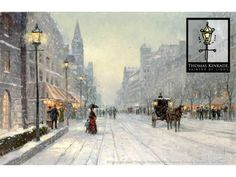 Thomas Kinkade Winter's Dusk Painting Limited Edition Canvas