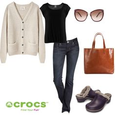 """The Professional Shopper"" by crocsshoes on Polyvore. All day comfort with our lined cobbler clogs is a must when you're out all day on your feet. #crocs #clogs #women #fashion #style #winter #fall"