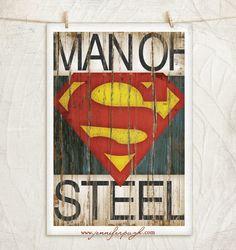 Superman- 12x18 Art Print -Comic Art, Vintage, Home, Wall Decor -Superhero-Black, White, Brown, Red, Yellow, Blue on Etsy, $20.00
