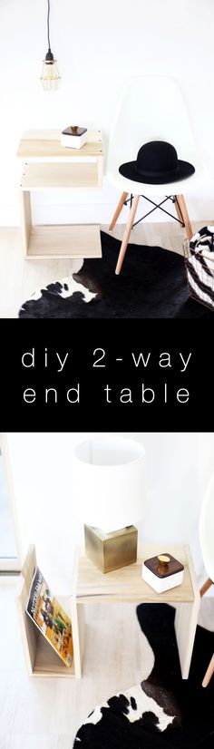 DIY end table ... love how you can stand the side table both ways! Such a cute DIY home decorating idea for your bedroom or living room.
