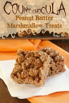Count Chocula Peanut Butter Marshmallow Treats are fun and easy no-bake Halloween cereal treats with peanut butter, marshmallows & chocolate.