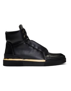 BALMAIN Black Leather Atlas High-Top Sneakers · VERGLE