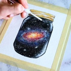 Here is a process video showing me painting a galaxy in a glass jar! This was one super fun to paint and I loved the way it turned out. I personally think I need to practice painting glass reflections, what do you think?? Let me know if you have any questions . Materials: @strathmoreart 140lb watercolor paper, @grumbacherart watercolors, and @liquitexofficial acrylic inks . Music: krale- Starchild (https://soundcloud.com/kraleofficial) . . . . #painting #space #watercolor #galaxy #star...