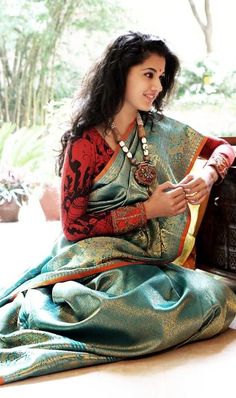 Saree - Teal-Turquoise-Gold Threads & Flame