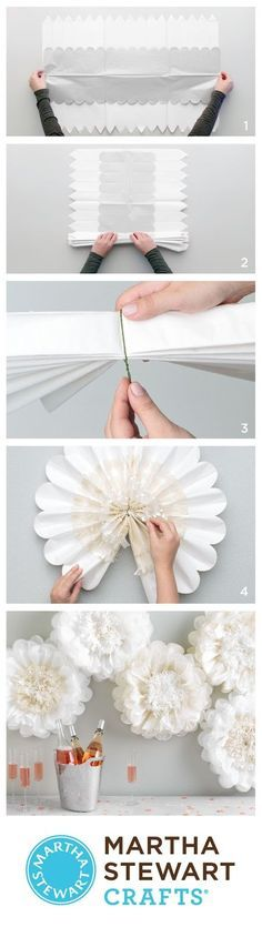 It's a pom-pom party with Martha Stewart Crafts Flower Pom-Poms! (Diy Art For Teens) Handmade Flowers, Diy Flowers, Fabric Flowers, Large Flowers, Tissue Paper Flowers, Paper Roses, Tissue Paper Pom Poms Diy, Festa Party, Diy Party