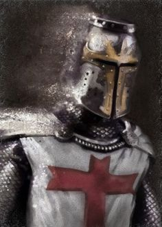 prints on metal Characters knight templar warrior crusader history painting red cross helmet armor light brown antique man him Medieval Knight, Medieval Fantasy, Knights Helmet, Helmet Armor, Silver Knight, Knight Tattoo, Crusader Knight, Armadura Medieval, Knight Art
