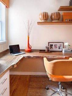 Orange and White Home Office I like the wood desktop. Reclaimed Desktop - Contemporary Orange and White Home Office on HGTVI like the wood desktop. Reclaimed Desktop - Contemporary Orange and White Home Office on HGTV Mesa Home Office, Home Office Design, Home Office Furniture, Home Office Decor, House Design, Home Decor, Office Designs, Bedroom Furniture, Furniture Ideas