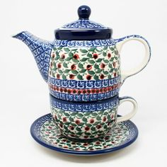 Polish Pottery 2 Cup Teapot Cup  Saucer 1543 -- Check out this great product.(This is an Amazon affiliate link and I receive a commission for the sales)