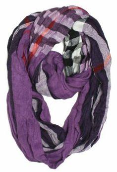 ForeverScarf Plaid Stripe Pattern Loop Infinity Scarf, Purple
