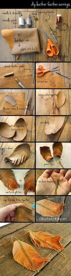 diy leather feather earrings by Alyssa Cook
