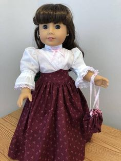 Burgandy with Dusty rose print Victorian skirt/Heirloom blouse