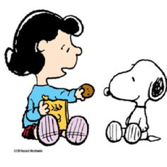 lucy and snoopy Want a cookie?