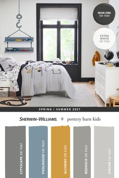 Recharge the walls in your active kid's bedroom with high-energy paint colors from Sherwin-Williams. Tap this pin to explore the entire @potterybarnkids Spring/Summer 2021 paint palette. Your kids will love the colors, and you'll love the ease of shopping online to pick-up curbside or in-store. #sherwinwilliams #DIY #decor #kidsbedroom #whitebedroom #lovemypbk #pbkids #potterybarnkids #homedecor #painting #colorinspiration #renovation #paint #graypaint #bluepaint #yellowpaint Kids Bedroom Paint, Boy Room Paint, Bedroom Paint Colors, Paint Colors For Living Room, Pottery Barn Paint, Pottery Barn Kids, Baby Bedding Sets, Bedding Shop, Diy Painting