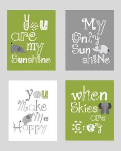 Elephant Art, You are my sunshine Light Olive Green and Gray Art Prints, 4-8x10 prints, Matches Boy or Girl Nursery, nursery, or playroom. $55.00, via Etsy.