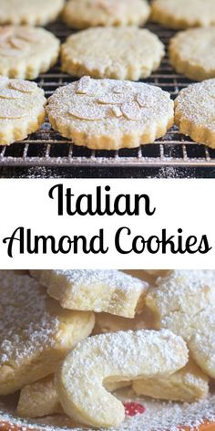 These Italian Almond Cookies are a soft cut out cookie, fast and easy to make. Made with only 6 ingredients they make a nice addition to your Holiday Cookie tray. Soft Almond Cookies, Almond Paste Cookies, Italian Almond Cookies, Italian Cookie Recipes, Italian Almond Biscuits, Cream Cookies, Italian Wedding Cookies, Italian Christmas Cookies, Christmas Baking