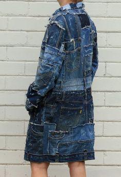 Hipster Grunge, Style Grunge, Soft Grunge, Long Denim Jacket, Denim Jacket Patches, Jacket Jeans, Estilo Jeans, Tokyo Street Fashion, Patchwork Jeans