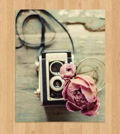 Peony & Vintage Camera Photo Art  | This charming photo of a vintage camera and dried peony is pri... | Photography