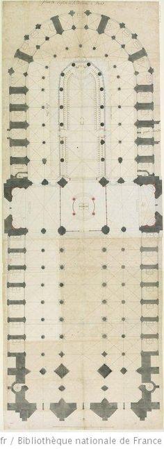 Plan général de l'église de Notre-Dame de Paris, telle qu'elle étoit anciennement : [dessin] / [Agence Jules Hardouin-Mansart]