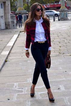 #streetstyle #outfit flannel blazer + black skinny
