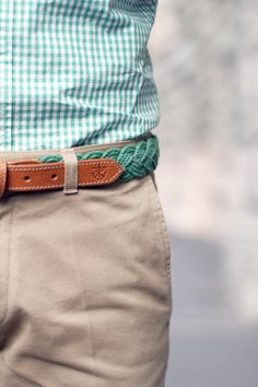 Turquoise Gingham shirt and matching belt from Kiel James Patrick.