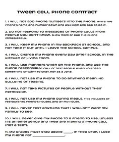 graphic relating to Printable Cell Phone Contract for Tweens known as Teenager Mobile Cellphone Deal