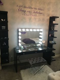 Impressions Slaystion, TrendyWallDesigns decal, IKEA shelfs, vanity seat from Ho. - Ikea DIY - The best IKEA hacks all in one place Vanity Makeup Rooms, Vanity Room, Vanity Decor, Rangement Makeup, Vanity Seat, Glam Room, Beauty Room, Dream Decor, Dream Rooms