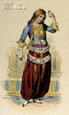 www.villsethnoatlas.wordpress.com (Grecy, Greeks) HIPP. LOUIS EMILE PAUQUET (1797-) (ζωγράφος) Greek dancer 1827 (?), coloured lithography, 25 x 18 cm Greece Costume, Folk Costume, Costumes, Empire Ottoman, Old Greek, Photographs Of People, Greek Clothing, Historical Costume, Crete