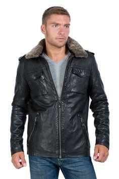 Stylische schwarze Lederjacke vom Trendlabel Mauritius