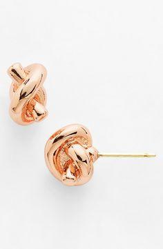 "Beauties! Kate Spade rose gold ""sailors knot"" earrings <3"