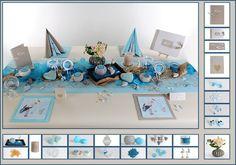 Baby Motivservietten, Babyschuhe und süße Klapperstörche in der Farbkombination Mintblau und Taupe lassen die Tischdeko zur Taufe edel wirken.