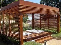 The wooden pergola is a good solution to add beauty to your garden. If you are not ready to spend thousands of dollars for building a cozy pergola then you may devise new strategies of trying out something different so that you can re Outdoor Pergola, Outdoor Areas, Outdoor Rooms, Outdoor Living, Outdoor Structures, Outdoor Decor, Outdoor Yoga, Pergola Swing, Interior Exterior