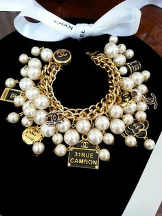 Chanel Button Bracelet Charms Pearls Vintage. Repurposed by DesignsbyZ