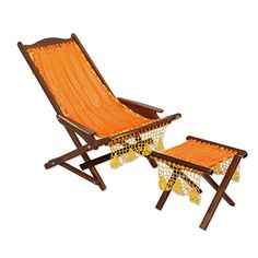 NOVICA Decorative Wood Hammock Deck Chair And Footstool Orange and Yellow Cancun Sun * You can get additional details at the image link.