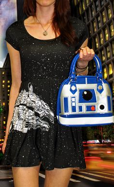 This Millennium Falcon dress pairs well with our R2D2 purse for a night out on the town!  The perfect Geek Chic outfit for any Star Wars lover.