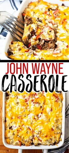 John Wayne Casserole – This easy ground beef casserole recipe is flavorful, hearty, and simple to make. via Casserole Crissy John Wayne Casserole – This easy ground beef casserole recipe is flavorful, hearty, and simple to make. via Casserole Crissy Easy Ground Beef Casseroles, Ground Beef Recipes For Dinner, Dinner With Ground Beef, Dinner Recipes, Quick Casseroles, Ground Beef Stroganoff, John Wayne Casserole, Beef Casserole Recipes, Easy Chicken Recipes