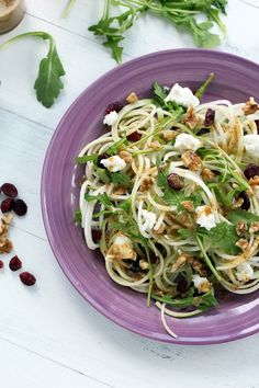 How to Spiralize a Kohlrabi: Kohlrabi and Green Apple Noodle Arugula Salad with Goat Cheese, Dried Cranberries and Walnuts with a Honey-Dijon Dressing