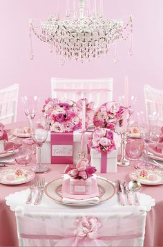 Pretty in Pink Table, cute for bridal shower brunch or lunch.  Maybe have a table prize in the box for a guest to take home?