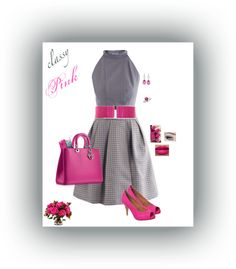 """Pink & Grey"" by monicaprates on Polyvore"