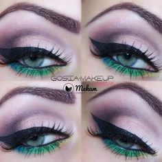 This colorful exotic cut crease is created using pink, violet, blue, green, and yellow eye shadow shades from one palette. Draw a thick wing and long false lashes for a more glamorous effect!