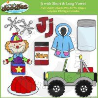 Jj Short and Long Vowel Clip Art and Line Art