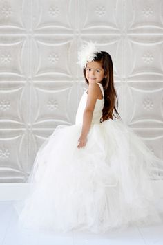 Flower Girl Dress, beautiful in white, could be very cute in your wedding colors