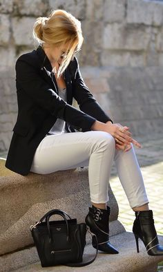 all black with white jeans | office attire | business casual