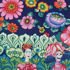 Frida La Catrina Border Print - Alexander Henry Fabric that you can buy from Fabrics Galore online!