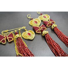 Valentines Gift Red Gold Jewelry Beaded Statement Heart Tassel Brooch... ($127) ❤ liked on Polyvore featuring jewelry, brooches, heart brooch, rose gold jewellery, heart-shaped jewelry, heart jewellery and beaded brooch