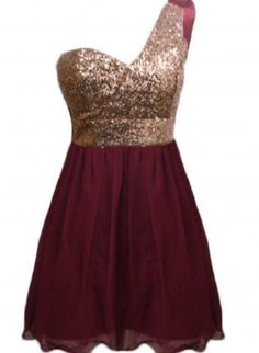 Wine Color One Shoulder Dress with Sequin Top Skirt