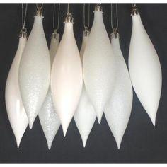 "8ct Winter White Shatterproof 4-Finish Finial Drop Christmas Ornaments 5.5"" - Walmart.com"