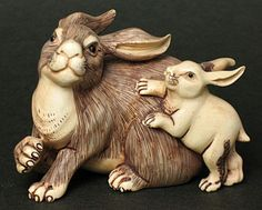 Vintage Japanese Handicrafts Mammoth Ivory Netsuke Rabbit Mother With Baby