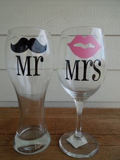 READY TO SHIP -Will Ship the next business day - Mr & Mrs Mustache and Lips Pilsner and Wine Glass -Wedding Gift -Shower Gift -Housewarming