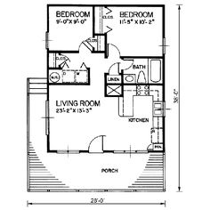 Ranch Style House Plan - 2 Beds 1 Baths 720 Sq/Ft Plan #66-300 Floor Plan - Main Floor Plan - Houseplans.com