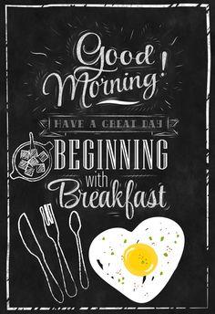 "Chalkboard Kitchen-Food-Cuisine-First Meal-Breakfast-Lunch-Sugar-Fried Egg-Silverware-Good Morning begins with Breakfast-Print 8.5x11"" No.64"